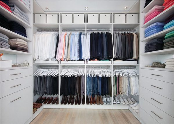 The Walk In Closet Is A Separate Room From Master Bedroom And Accessed Through Curtain Divide Or Glazed Door Shelves Are Built Into Walls Of
