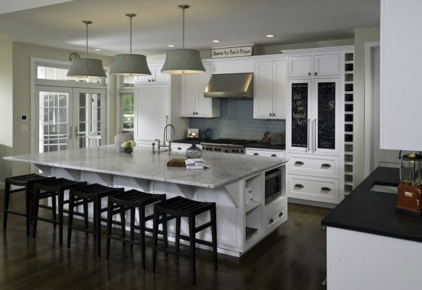 kitchen island with drop seating