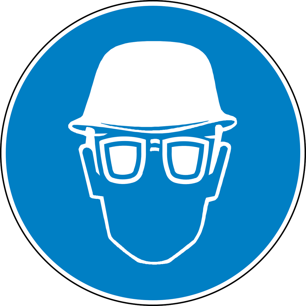 Eye protection and a helmet drawing