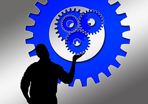 Man with gears