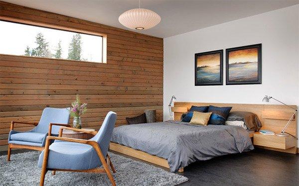 wood paneling bedroom