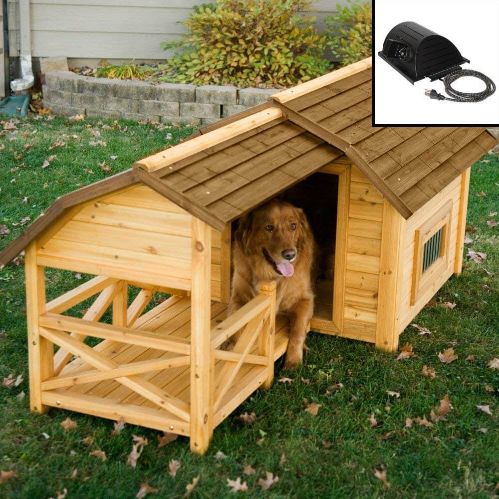 8. Wooden Barn for Large & Extra Large Dogs with Heater