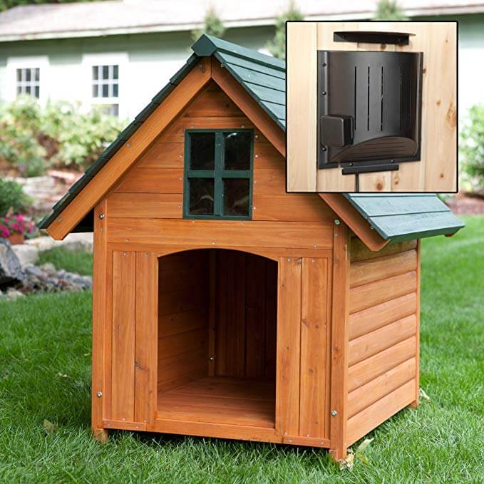 9. Large Heated Weather Resistant Dog House with Heater and Window