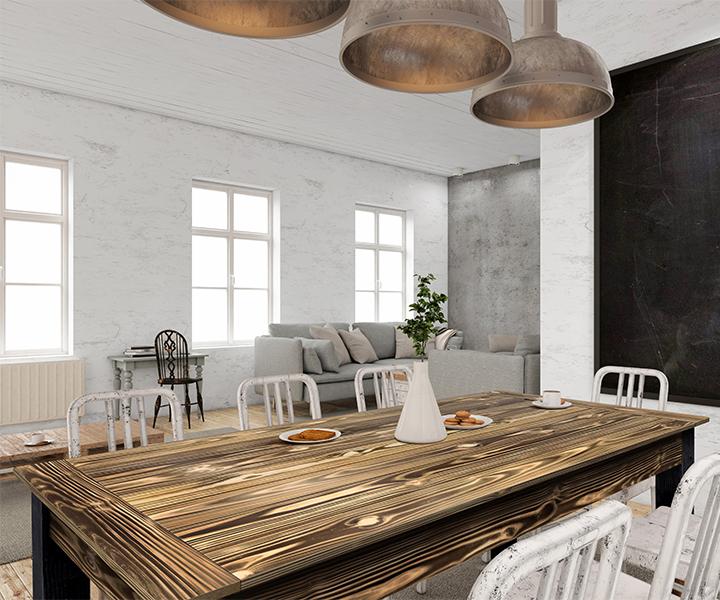 kitchen counter charred wood