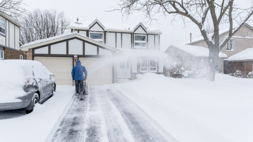removing snow from your driveway